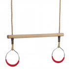 Wooden trapeze bar with metal rings